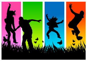 graphic of people jumping in the air